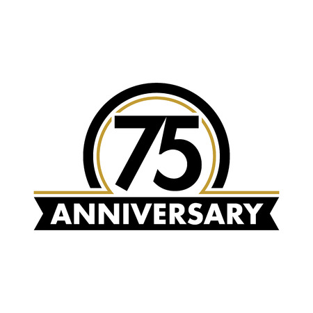 Anniversary vector unusual label. Seventy-fifth anniversary symbol. 75 years birthday abstract logo. The arc in a circle. 75th jubilee