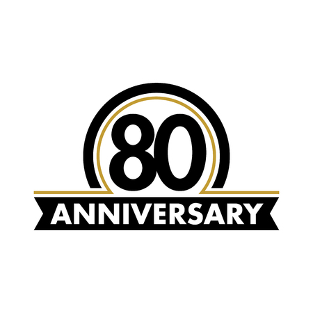 seventieth: Anniversary vector unusual label. Seventieth anniversary symbol. 80 years birthday abstract logo. The arc in a circle. 80th jubilee