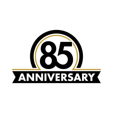 seventieth: Anniversary vector unusual label. Seventieth anniversary symbol. Birthday abstract logo. The arc in a circle. 80th jubilee