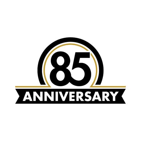 seventieth: Anniversary vector unusual label. Seventieth anniversary symbol. Birthday abstract logo. The arc in a circle. 80th jubilee