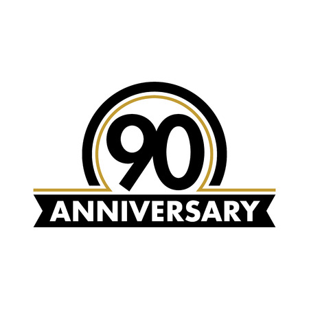 90th: Anniversary vector unusual label. Ninetieth anniversary symbol. 90 years birthday abstract logo. The arc in a circle. 90th jubilee