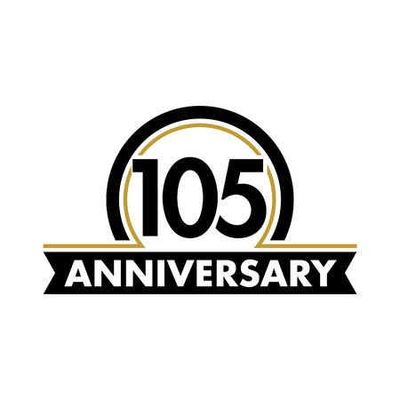 Anniversary vector unusual label. One hundred fifth anniversary symbol. 105 years birthday abstract logo. The arc in a circle. 105th jubilee Illustration
