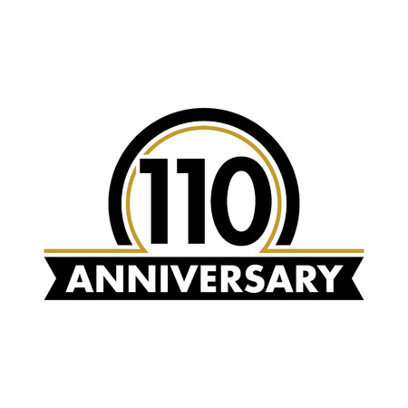 tenth: Anniversary vector unusual label. One hundred tenth anniversary symbol. 110 years birthday abstract logo. The arc in a circle. 110th jubilee
