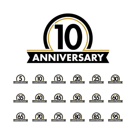Anniversary vector unusual logos template. Anniversary symbols collection. Birthday abstract logo. Jubilee icons