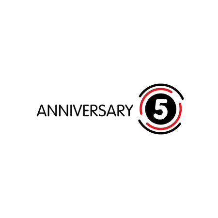 Anniversary Vector Unusual Label Fifth Anniversary Symbol 5