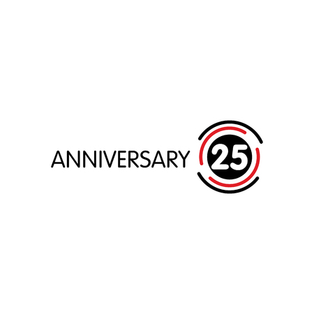 25th: Anniversary vector unusual label. Twenty-fifth anniversary symbol. 25 years birthday abstract logo. The arc in a circle. 25th jubilee