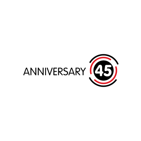 45th: Anniversary vector unusual label. Forty-fifth anniversary symbol. 45 years birthday abstract logo. The arc in a circle. 45th jubilee