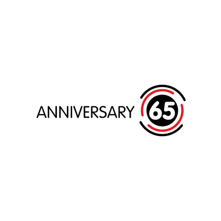65th: Anniversary vector unusual label. Sixty-fifth anniversary symbol. 65 years birthday abstract logo. The arc in a circle. 65th jubilee