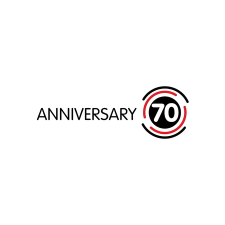 seventieth: Anniversary vector unusual label. Seventieth anniversary symbol. 70 years birthday abstract logo. The arc in a circle. 70th jubilee Illustration