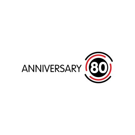 80th: Anniversary vector unusual label. Seventieth anniversary symbol. 80 years birthday abstract logo. The arc in a circle. 80th jubilee