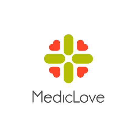 green plus: Isolated abstract vector logo. Stylized green color cross with pink hearts logotype. Arithmetic plus symbol. Medical sign. Ambulance icon. Religious element vector illustration. Floral decorative sign Illustration