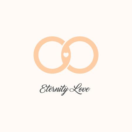 eternity: Eternity love vector logo. Wedding gold rings. Endless love isolated symbol. Unusual design logotype