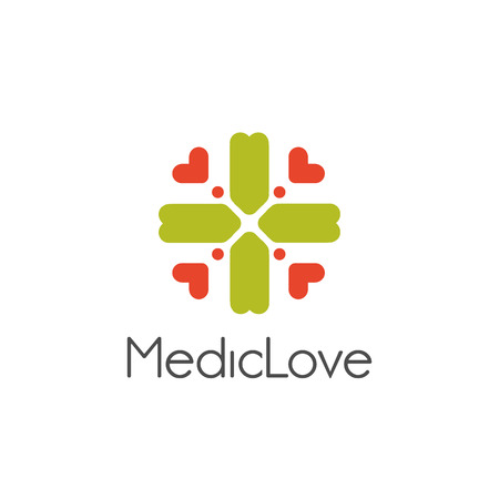 arithmetic: Isolated abstract vector logo. Stylized green color cross with pink hearts logotype. Arithmetic plus symbol. Medical sign. Ambulance icon. Religious element vector illustration. Floral decorative sign Illustration