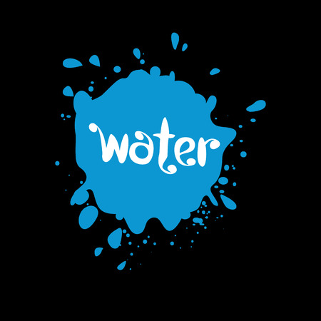 Spray blots, water stain unusual modern logo. Beverage vector background. Spatter illustration Illustration