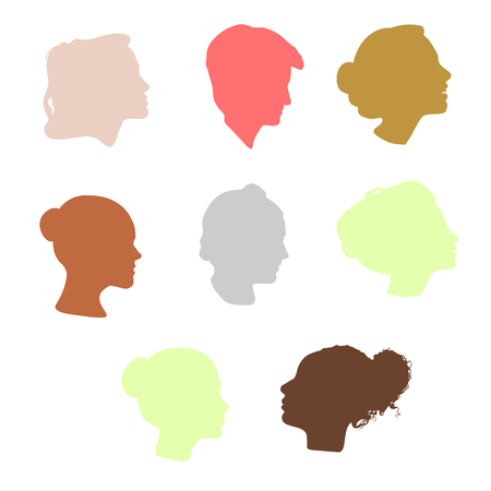manequin: Isolated colorful women side view vector logo set. Beauty salon logotypes collection on the white backround. Hairdresser business card element. Minimalistic female silhouette. Cosmetics icon Illustration