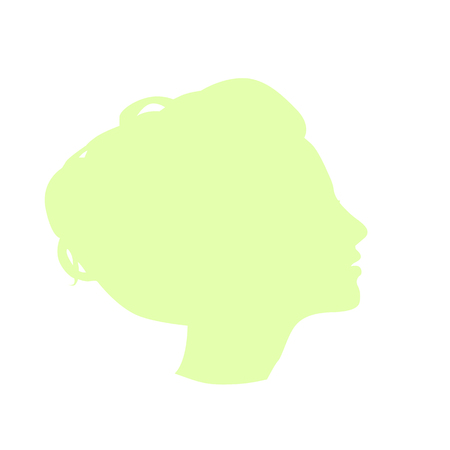 patten: Isolated pale green color women side view vector logo. Beauty salon logotype on the white background. Hairdresser business card element. Minimalistic female silhouette. Cosmetics icon Illustration
