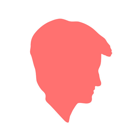 hair do: Isolated crimson color women,man side view vector logo. Beauty salon logotype on the white background. Hairdresser business card element. Minimalistic female, male silhouette. Cosmetics icon