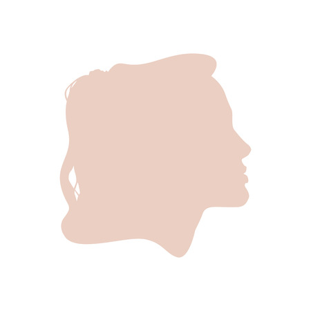 manequin: Isolated pale pink color women side view vector logo. Beauty salon logotype on the white background. Hairdresser business card element. Minimalistic female silhouette. Cosmetics icon