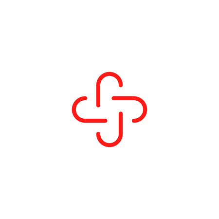 Isolated red color abstract cross vector logo. Outlined plus sign. Medical icon. Decorative element Illustration