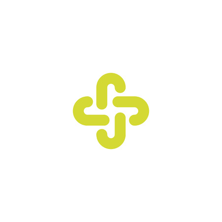 Isolated green color abstract cross vector logo. Outlined plus sign. Medical icon. Decorative element