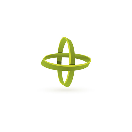 arithmetic: Isolated green color cross vector logo. Abstract circles on the white background. Geometric elements. Atoms movement. Letter X. Chemical icon. Arithmetic plus sign Illustration