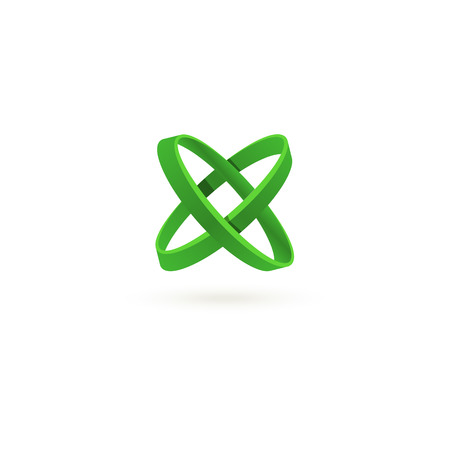 multiplication: Isolated green color cross vector logo. Abstract circles on the white background. Geometric element. Letter X. Multiplication sign.