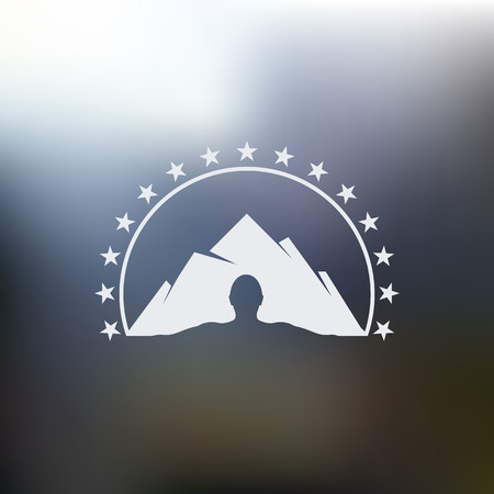 mountaineering: Isolated abstract mountain with human silhouette vector logo. Man outline with high hill landscape. Ski resort logotype. Snowy peak illustration. Mountaineering sign. Climbing tourism sign.