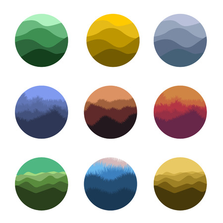 Isolated abstract colorful round shape wild nature silhouettes  set. Natural environment  collection. Beautiful landscapes icons. Vector illustration