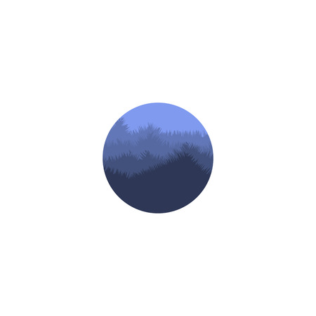 misty: Isolated abstract blue color round shape mountain with trees . Natural environment silhouette . Misty landscape icon. Twilight vector illustration Illustration