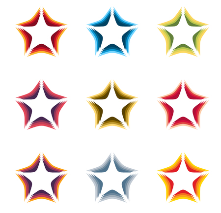 celebrities: Isolated abstract colorful stars contour  set on the white background. Rating element  collection. Celebrities symbol. Decorative signs. Vector illustration Illustration