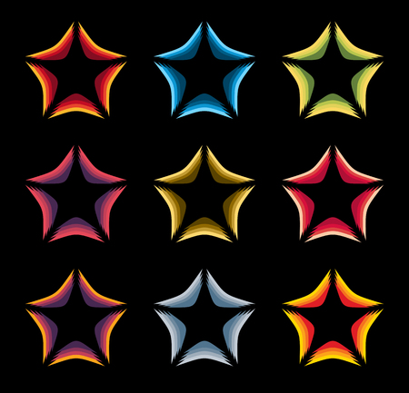 celebrities: Isolated abstract colorful stars contour  set on the black baackground. Rating element  collection. Celebrities symbol. Decorative signs. Vector illustration