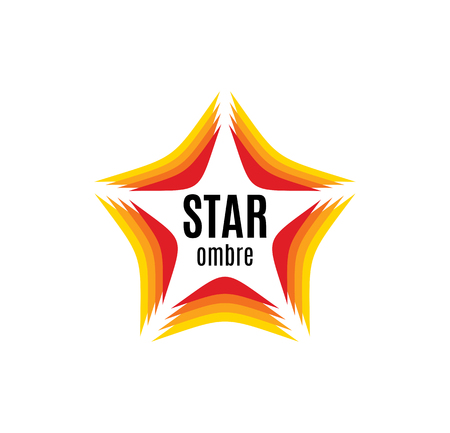 fame: Isolated abstract orange color star contour  on the white background. Rating and quality decorative element. Celebrities sign. Famous people symbol. Fame icon. Award image.Vector illustration