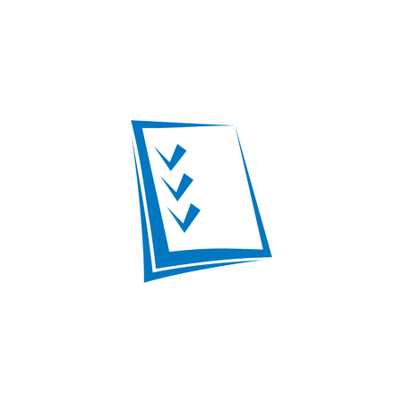 checkmark: Isolated abstract blue color checklist contour  on the white background. Checkmark . Business plan icon. Make note sign. Test sheet symbol. Notebook paper pictogram. Vector illustration Illustration
