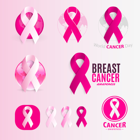 cancer ribbons: Isolated pink and white color ribbons  set. Against cancer  collection. Stop disease symbol. International worldwide breast cancer week. Medical sign. Vector illustration
