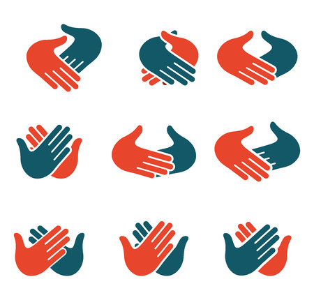 hi five: Isolated abstract clapping hands  set. Give five  collection. Shaking hands sign. Greeting symbol. Positive friendly congratulating gesture icon. Teamwork element. Vector illustration
