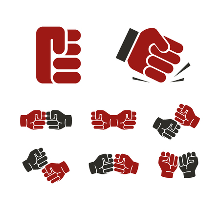 aggressive people: Isolated abstract red and black fists  set. Banging fist . Aggressive revolution sign. Human hand negative gesture symbol. Protest icon. Deaf people language element. Vector illustration