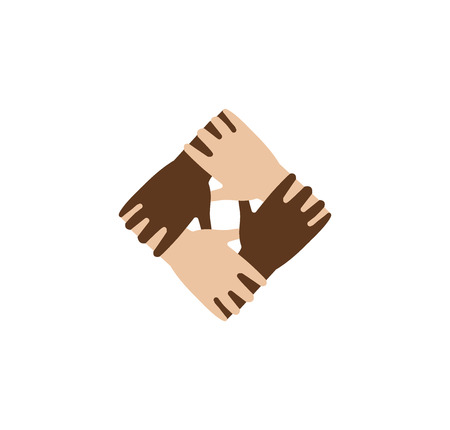 brotherhood: Isolated abstract dark and light skin hands together . Black and white people friendship . Equal rights sign.International communication symbol. Help and support icon.Vector illustration