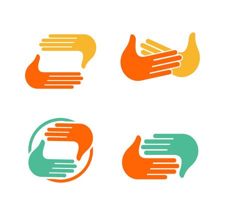 手をたたいて分離の概要を設定します。5 つのコレクションを与えます。サインを手を振ってします。挨拶のシンボル。肯定的なフレンドリーなお祝