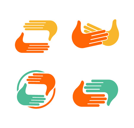 hi five: Isolated abstract clapping hands  set. Give five  collection. Shaking hands sign. Greeting symbol. Positive friendly congratulating gesture icon.Photo shooting studio. Vector illustration
