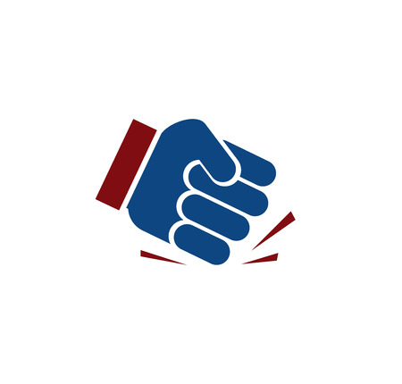 objection: Isolated blue color fist . Human hand angry gesture. Protest symbol. Aggressive objection sign. Force and violence icon. Designed judge hammer. Vector illustration