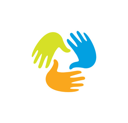 handprints: Isolated abstract colorful children hands together . Kids playroom . Kindergarten sign. Handprints in paint symbol. Art school emblem. Vector illustration