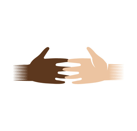 interracial: Isolated abstract dark and light skin human hands logo. White and black people touching fingers logotype.Equal rights sign. International friendship symbol. Charity campaign icon. Vector illustration Illustration