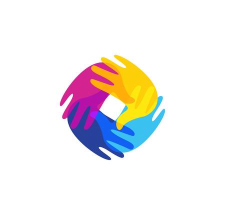 handprints: Isolated abstract colorful human hands together . Kids playroom . Kindergarten sign. Children handprints in paint symbol. Art school emblem. Vector illustration