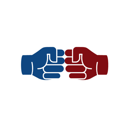 bumps: Isolated abstract brown and blue color human hands . Friendly punching fists . Gesture language sign. Business deal symbol. Greeting and congratulating icon. Vector illustration