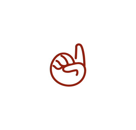 computer language: Isolated abstract brown color pointing forefinger contour . Human hand . Gesture language sign. Cursor symbol. Computer element. Attention icon. Vector illustration