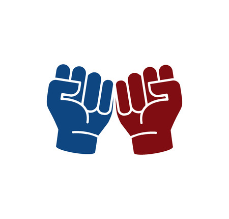 revolutionary: Isolated abstract blue and brown color fists . Human hands . Clenched fists icon. Aggressive revolutionary gesture sign. Protest symbol. Vector illustration