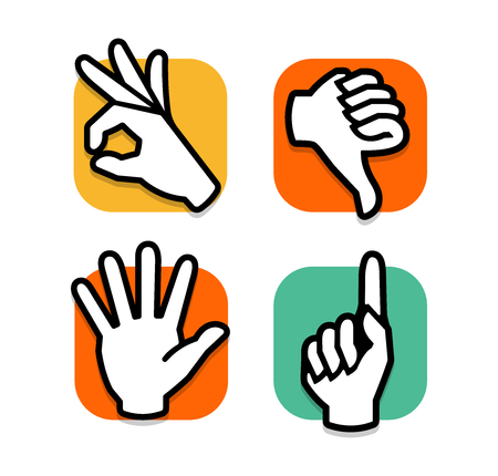 Isolated Abstract Colorful Social Network Set Human Handsfingers