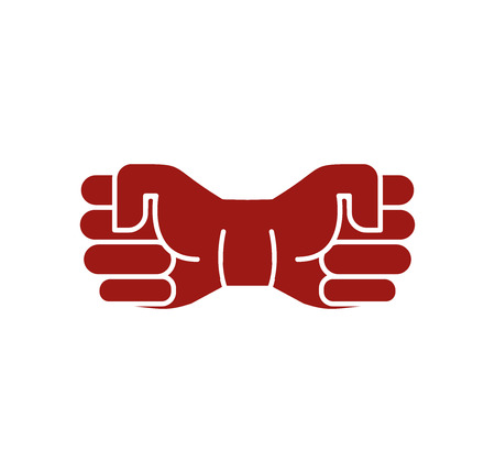 protest man: Isolated abstract brown color fists . Human hands . Strong man symbol. Protest sign. Aggressive revolutionary icon. Vector illustration