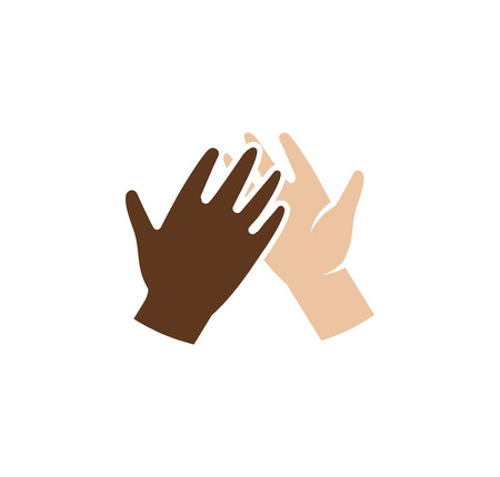 racism: Isolated abstract dark and light skin human hands together . Giving high five black and white people hands . International friendship sign. Equal rights symbol. Vector illustration
