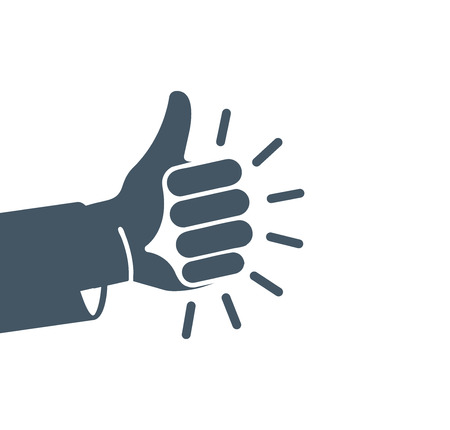 estimation: Isolated abstract grey color thumb up . Human hand friendly gesture . Like sign. Approval button. Positive emotion. Deaf people language element. Quality estimation. Vector illustration